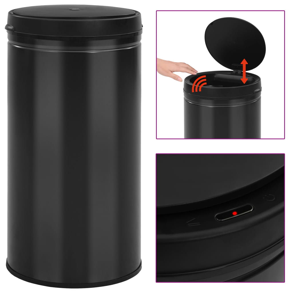 vidaXL Coș de gunoi automat cu senzor, 60 L, negru, oțel carbon poza vidaxl.ro