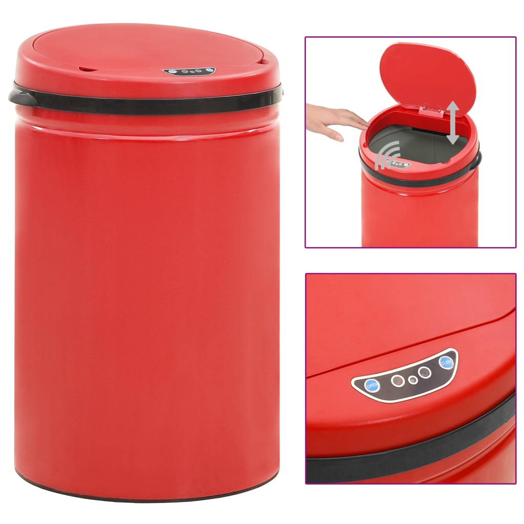 vidaXL Coș de gunoi automat cu senzor, 30 L, roșu, oțel carbon poza vidaxl.ro