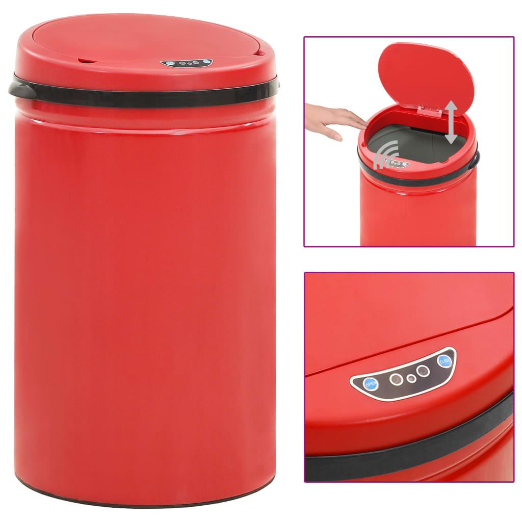 vidaXL Coș de gunoi automat cu senzor, 40 L, roșu, oțel carbon poza vidaxl.ro