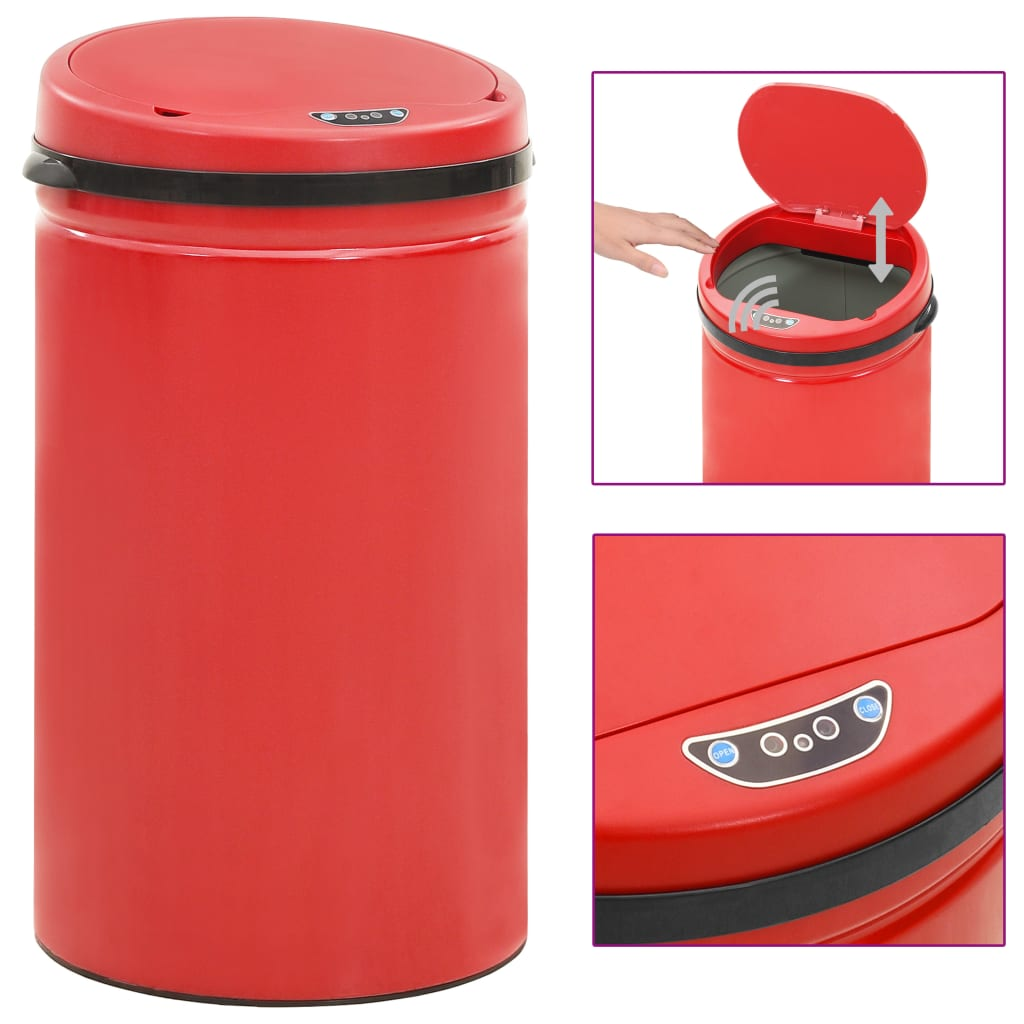 vidaXL Coș de gunoi automat cu senzor, 50 L, roșu, oțel carbon poza vidaxl.ro