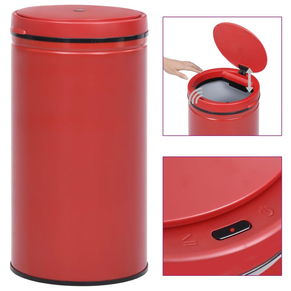 vidaXL Coș de gunoi automat cu senzor, 60 L, roșu, oțel carbon poza vidaxl.ro
