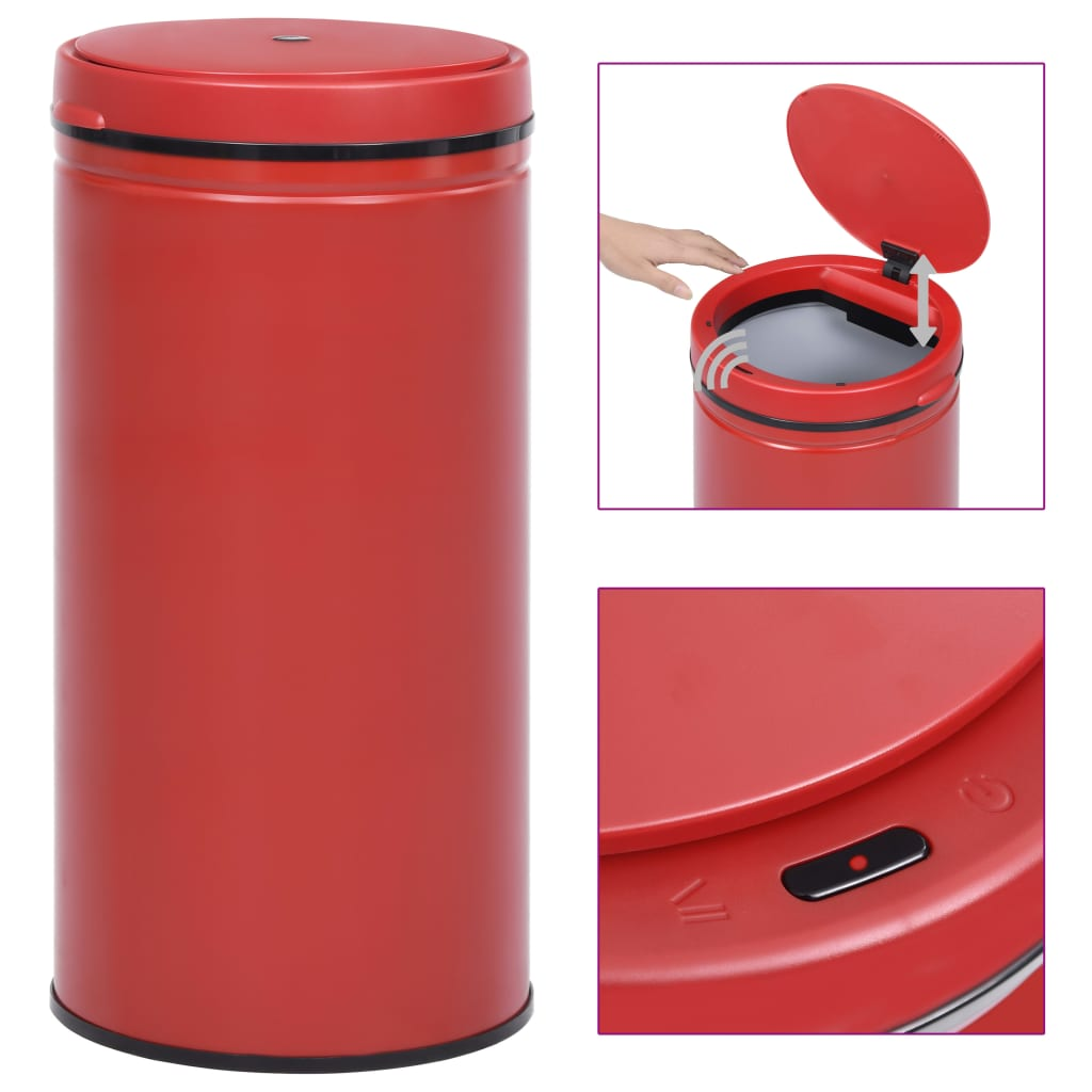 vidaXL Coș de gunoi automat cu senzor, 70 L, roșu, oțel carbon poza vidaxl.ro