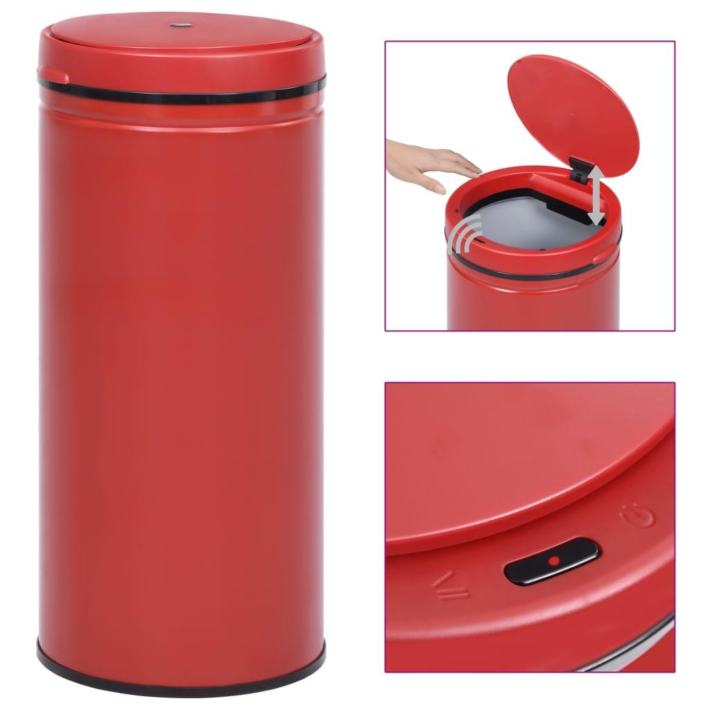 vidaXL Coș de gunoi automat cu senzor, 80 L, roșu, oțel carbon poza vidaxl.ro
