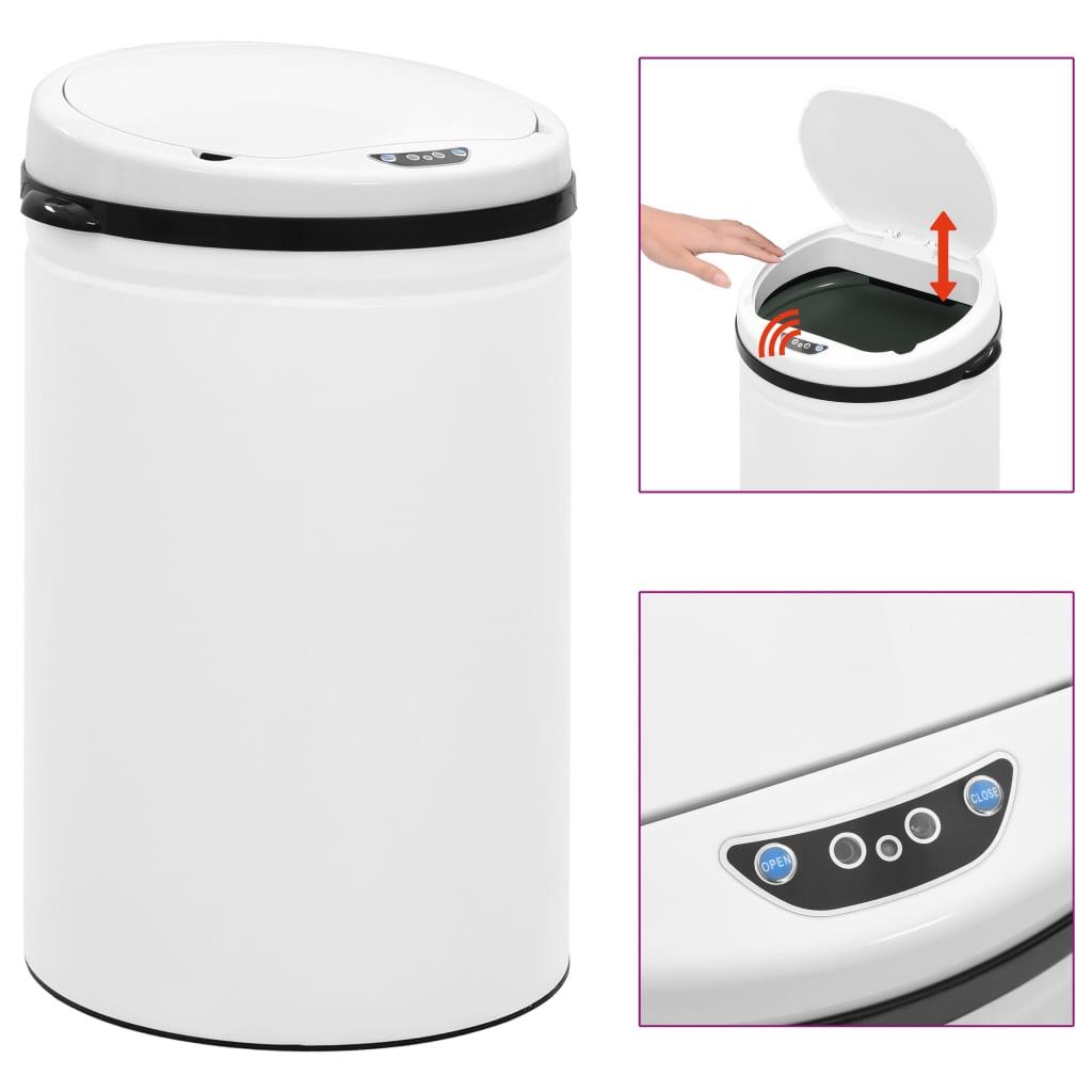vidaXL Coș de gunoi automat cu senzor, 30 L, alb, oțel carbon vidaxl.ro