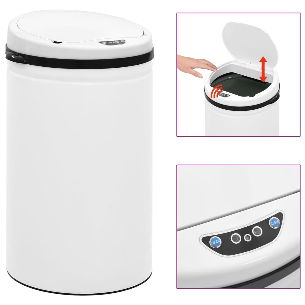 vidaXL Coș de gunoi automat cu senzor, 40 L, alb, oțel carbon poza vidaxl.ro