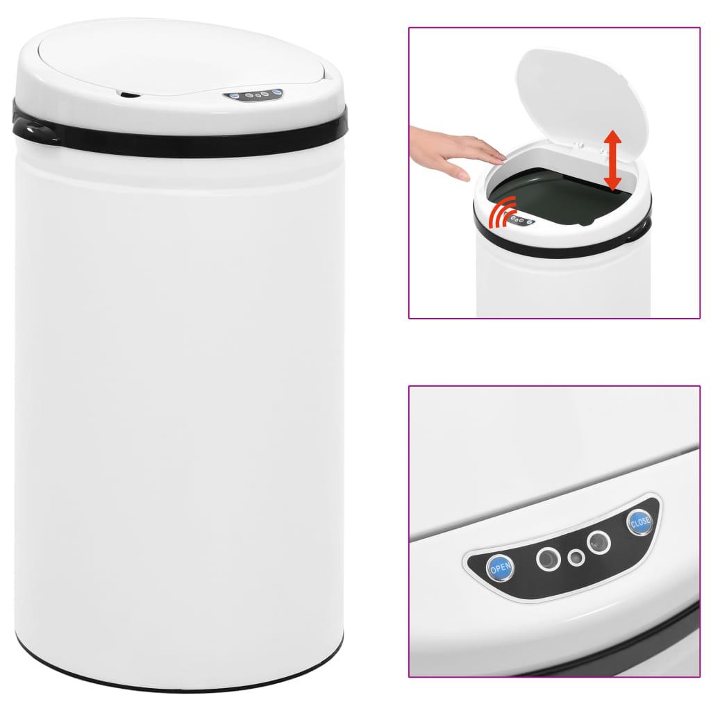 vidaXL Coș de gunoi automat cu senzor, 50 L, alb, oțel carbon poza vidaxl.ro
