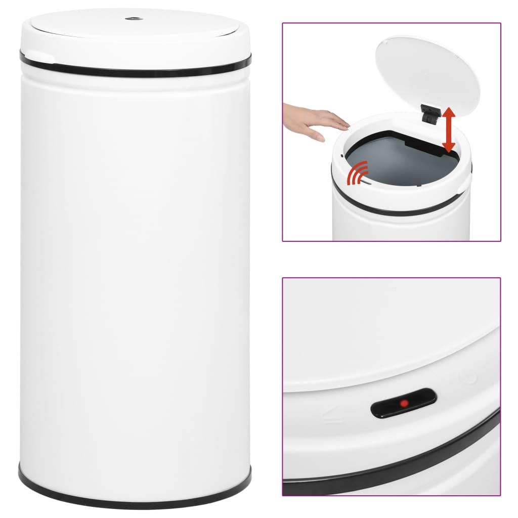 vidaXL Coș de gunoi automat cu senzor, 70 L, alb, oțel carbon poza vidaxl.ro