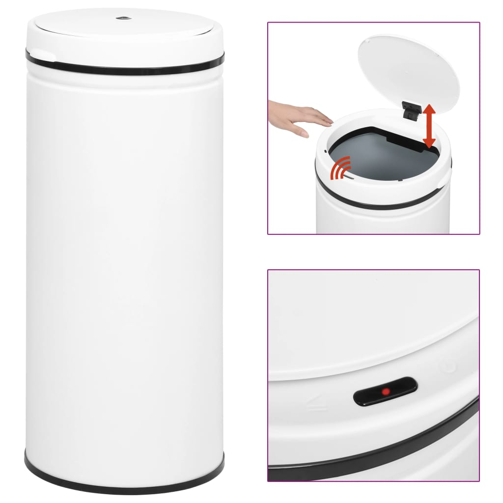 vidaXL Coș de gunoi automat cu senzor, 80 L, alb, oțel carbon vidaxl.ro
