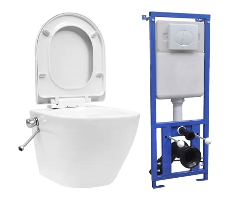 vidaXL Окачена тоалетна чиния без ръб, скрито казанче, керамика, бяла