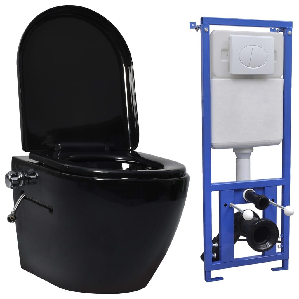 vidaXL Vas de toaletă suspendat cu rezervor încastrat, negru, ceramică imagine vidaxl.ro