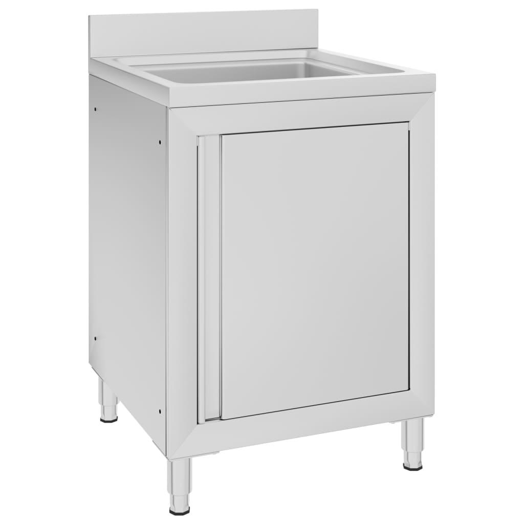 vidaXL Dulap pentru chiuvetă comercial, 60x60x96 cm, oțel inoxidabil imagine vidaxl.ro