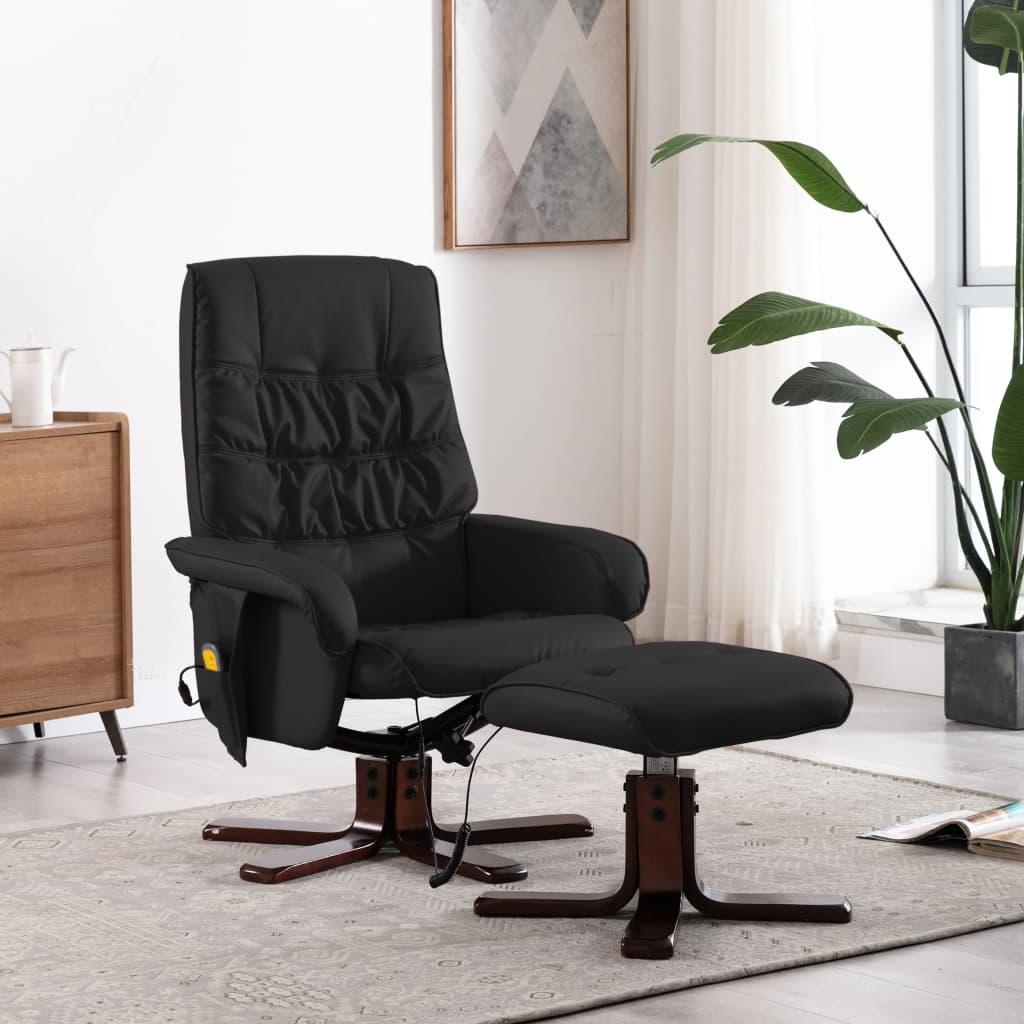 vidaXL Rozkładany fotel masujący z podnóżkiem, czarny, sztuczna skóra