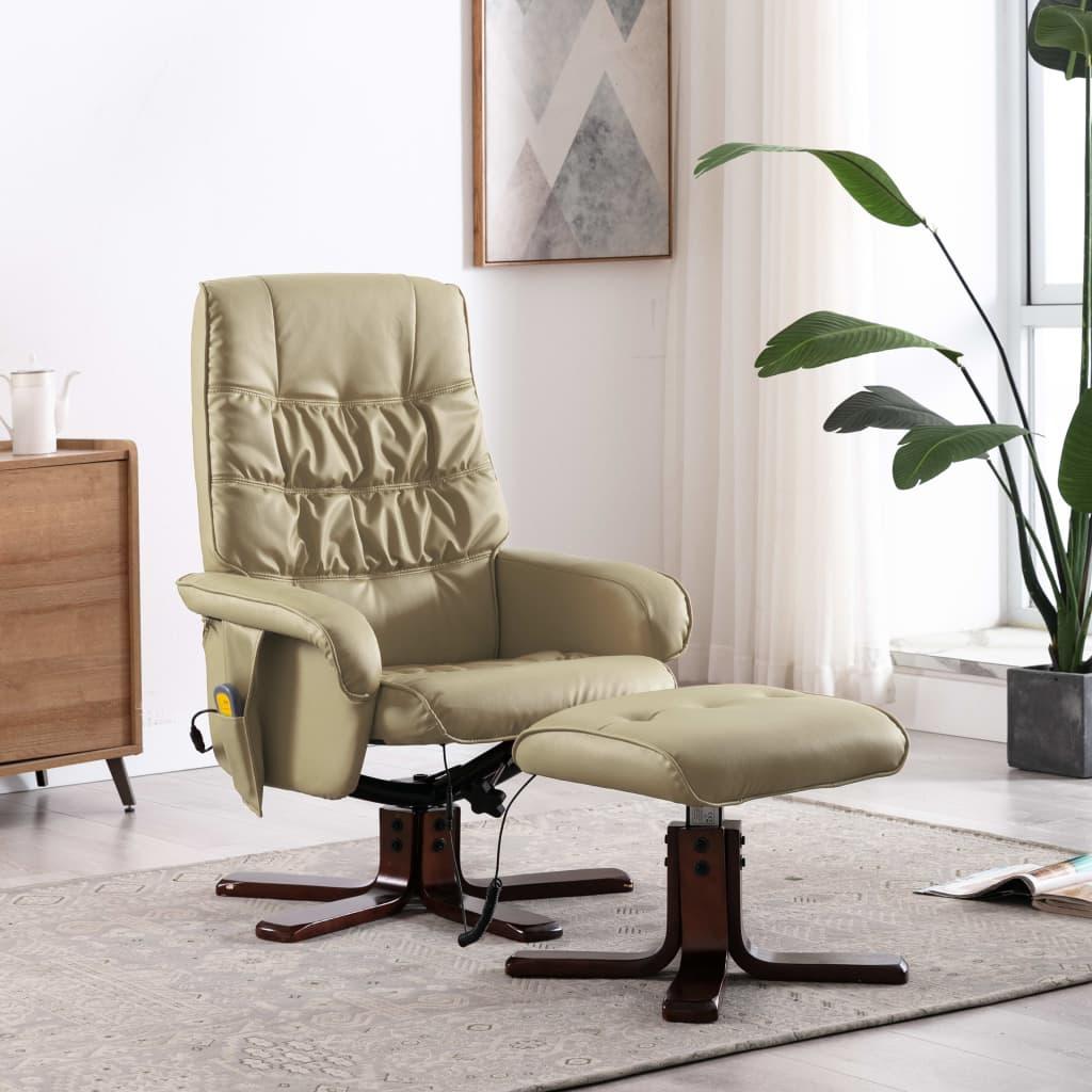 vidaXL Fotoliu masaj rabatabil cu taburet cappuccino piele ecologică imagine vidaxl.ro