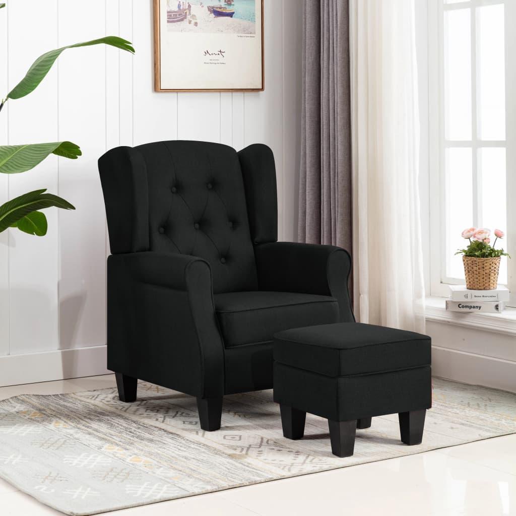 vidaXL Fotoliu cu taburet pentru picioare, negru, material textil vidaxl.ro