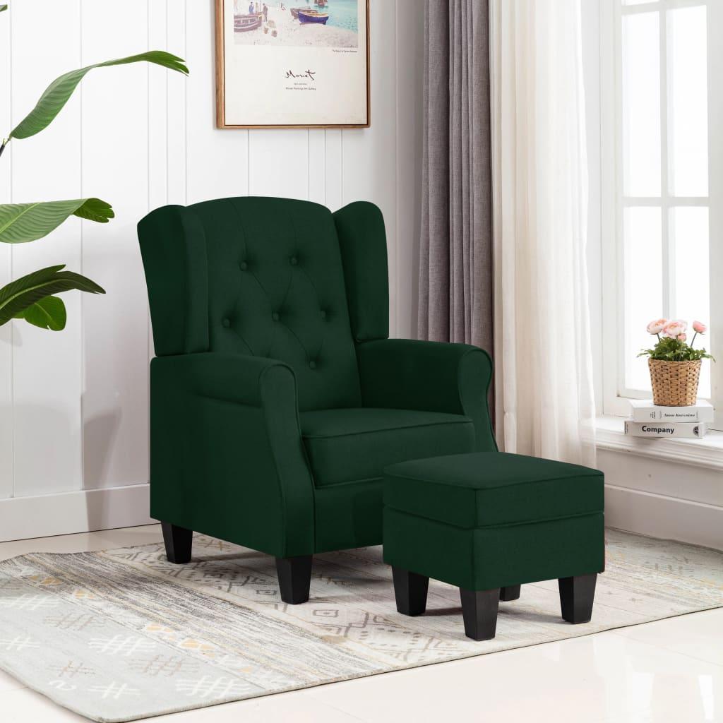 vidaXL Fotoliu cu taburet, verde închis, material textil vidaxl.ro