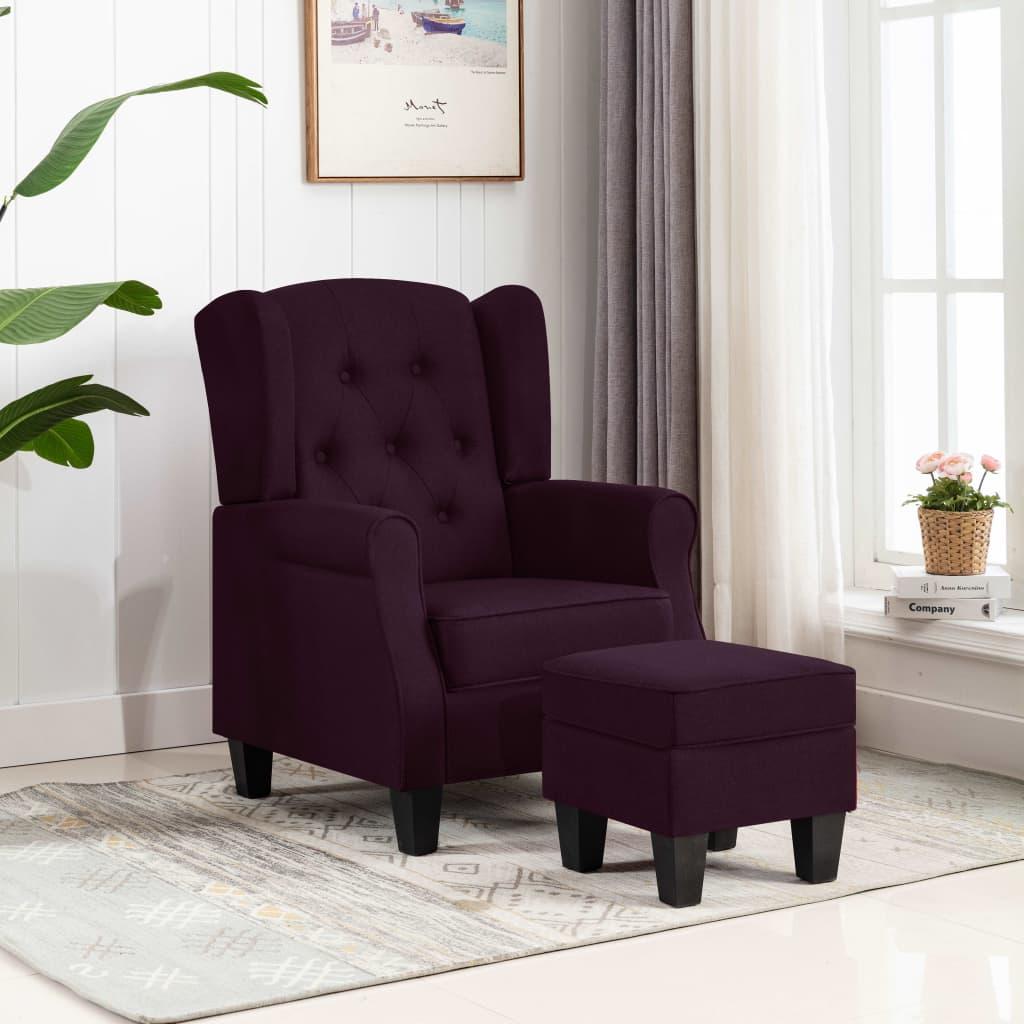 vidaXL Fotoliu cu taburet pentru picioare, violet, material textil vidaxl.ro