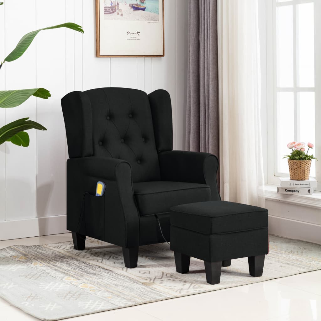 vidaXL Fotoliu de masaj cu taburet, negru, material textil poza vidaxl.ro
