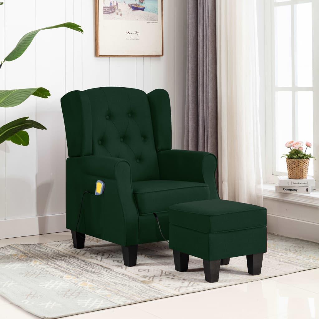 vidaXL Fotoliu de masaj cu taburet, verde închis, material textil vidaxl.ro