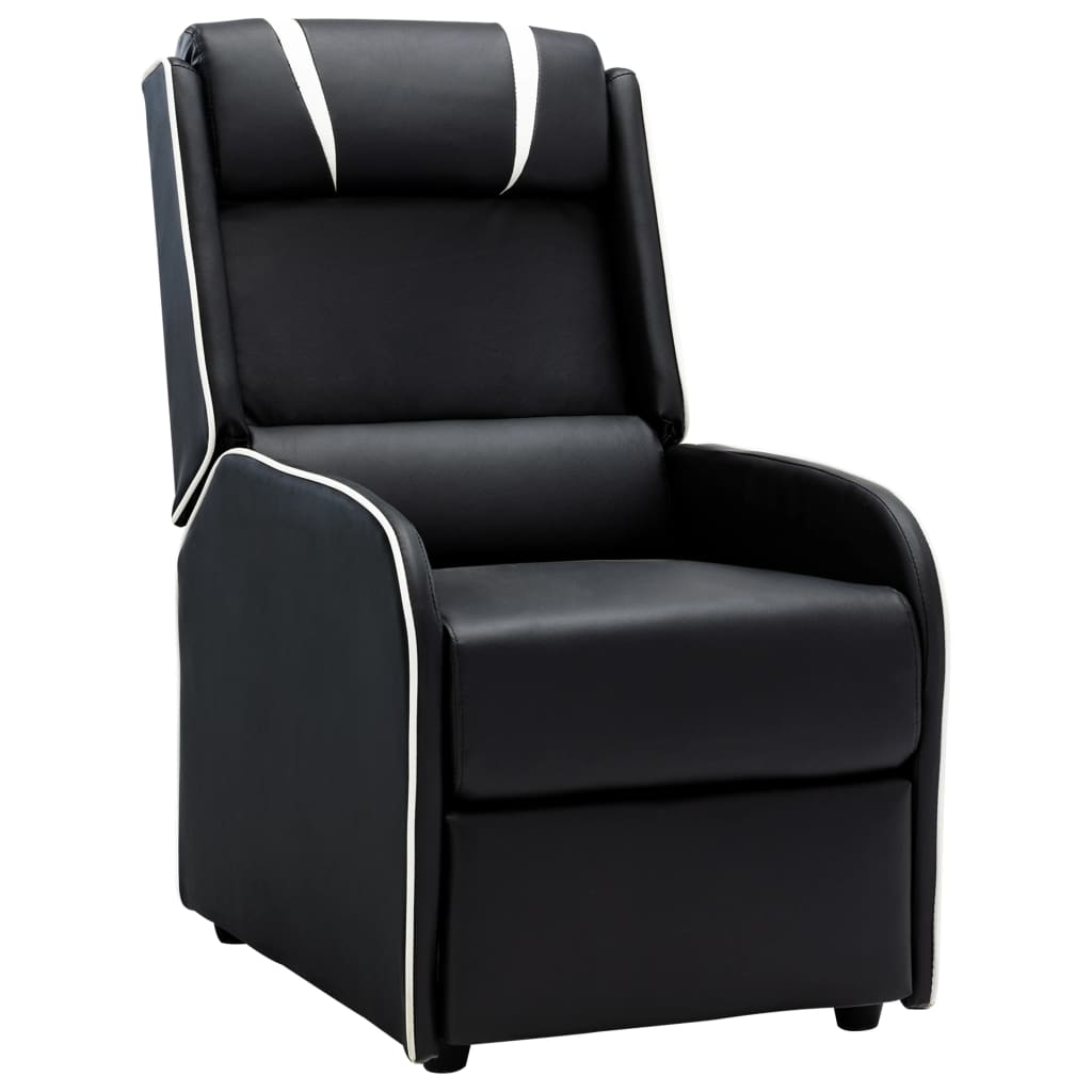 vidaXL Chaise inclinable Noir et blanc Similicuir