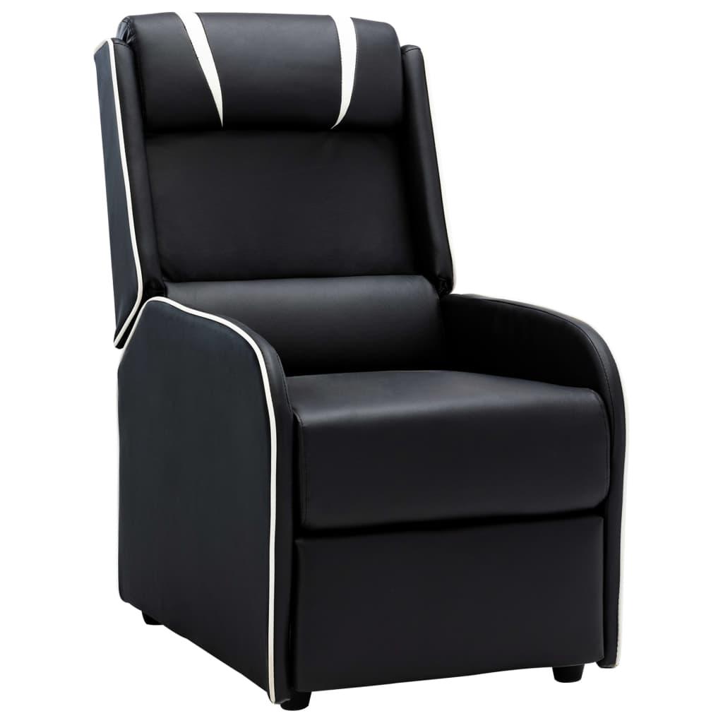 vidaXL Chaise inclinable Noir et blanc Similicuir