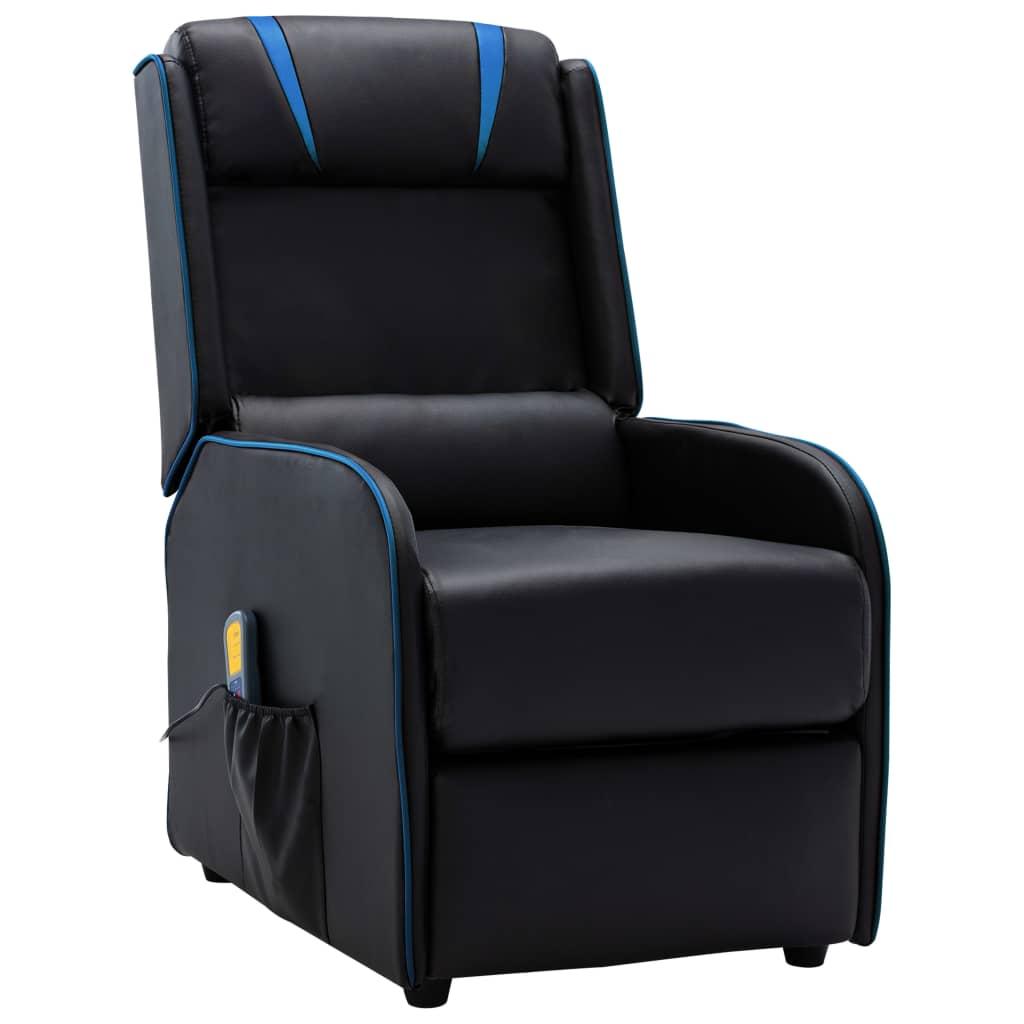 vidaXL Fotoliu rabatabil de masaj, negru și albastru, piele ecologică poza vidaxl.ro