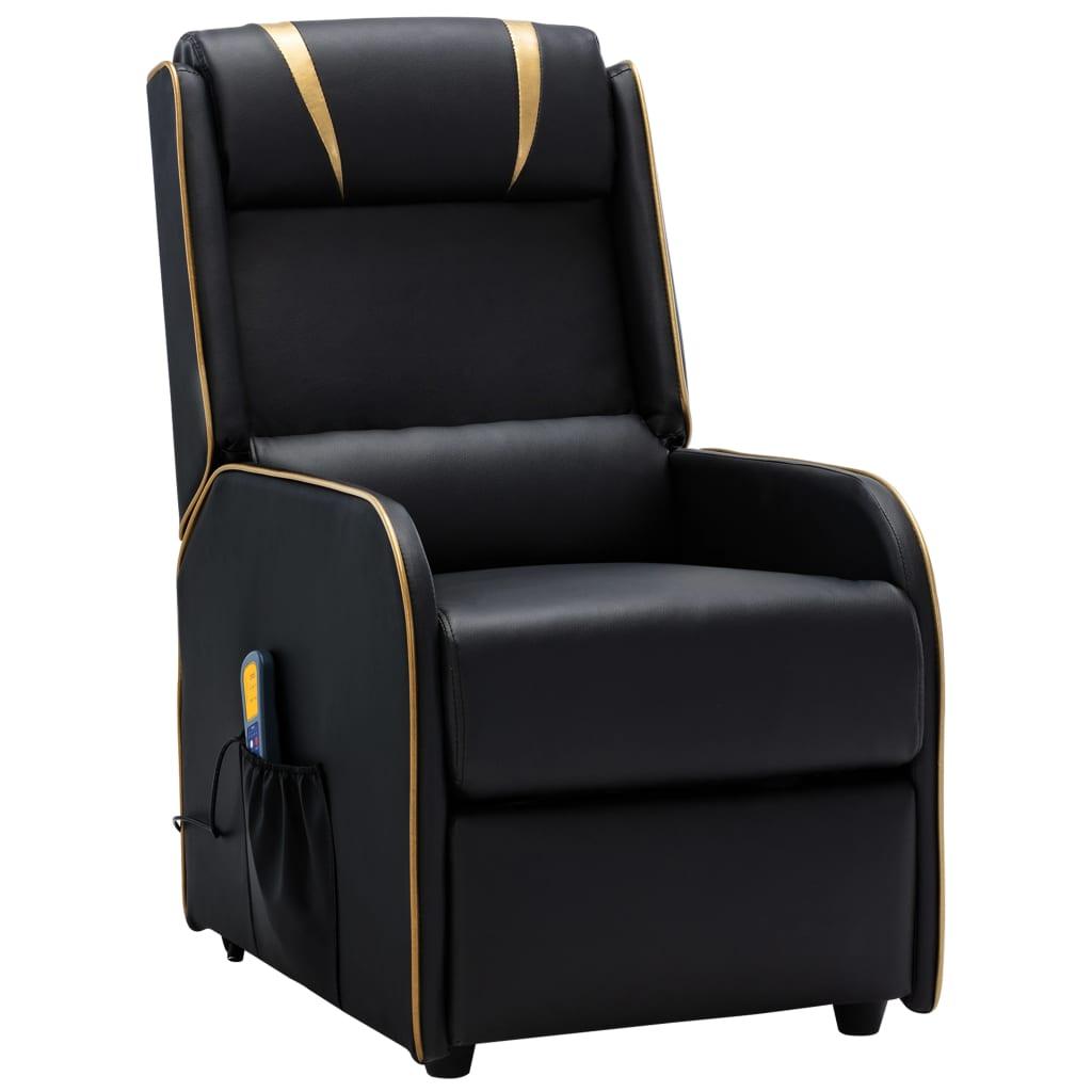 vidaXL Fotoliu rabatabil de masaj, negru și auriu, piele ecologică poza vidaxl.ro