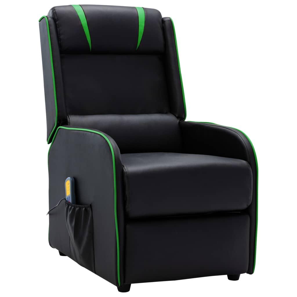 vidaXL Massagestoel verstelbaar kunstleer zwart en groen