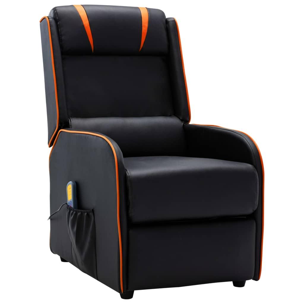 Masážní polohovací křeslo černé a oranžové umělá kůže