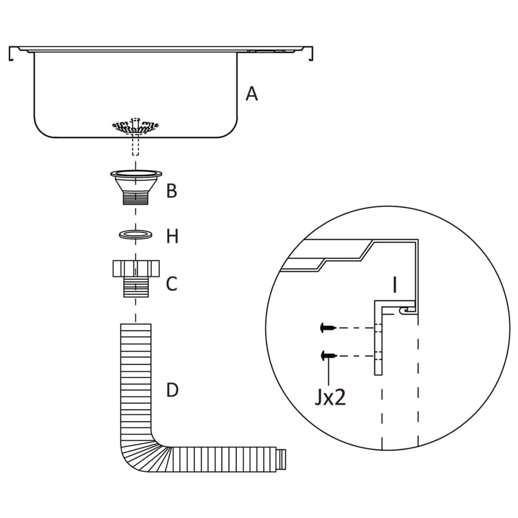 Gootsteen met afvoerset 800x500x155 mm roestvrij staal zilver