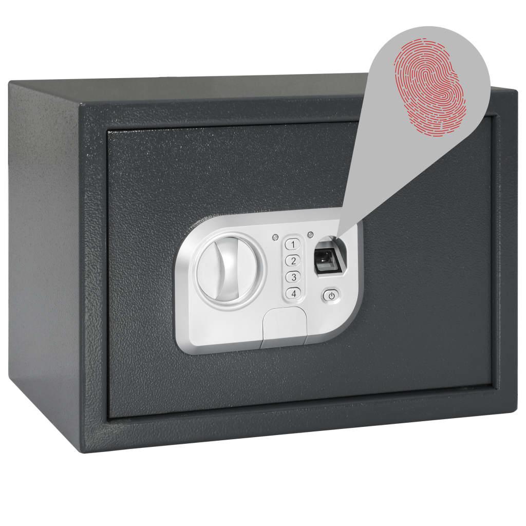 vidaXL Digitální trezor na otisk prstu tmavě šedý 35 x 25 x 25 cm