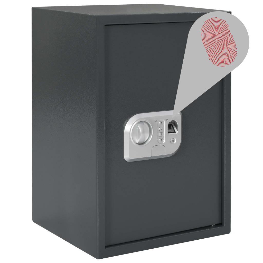 vidaXL Digitální trezor na otisk prstu tmavě šedý 35 x 31 x 50 cm