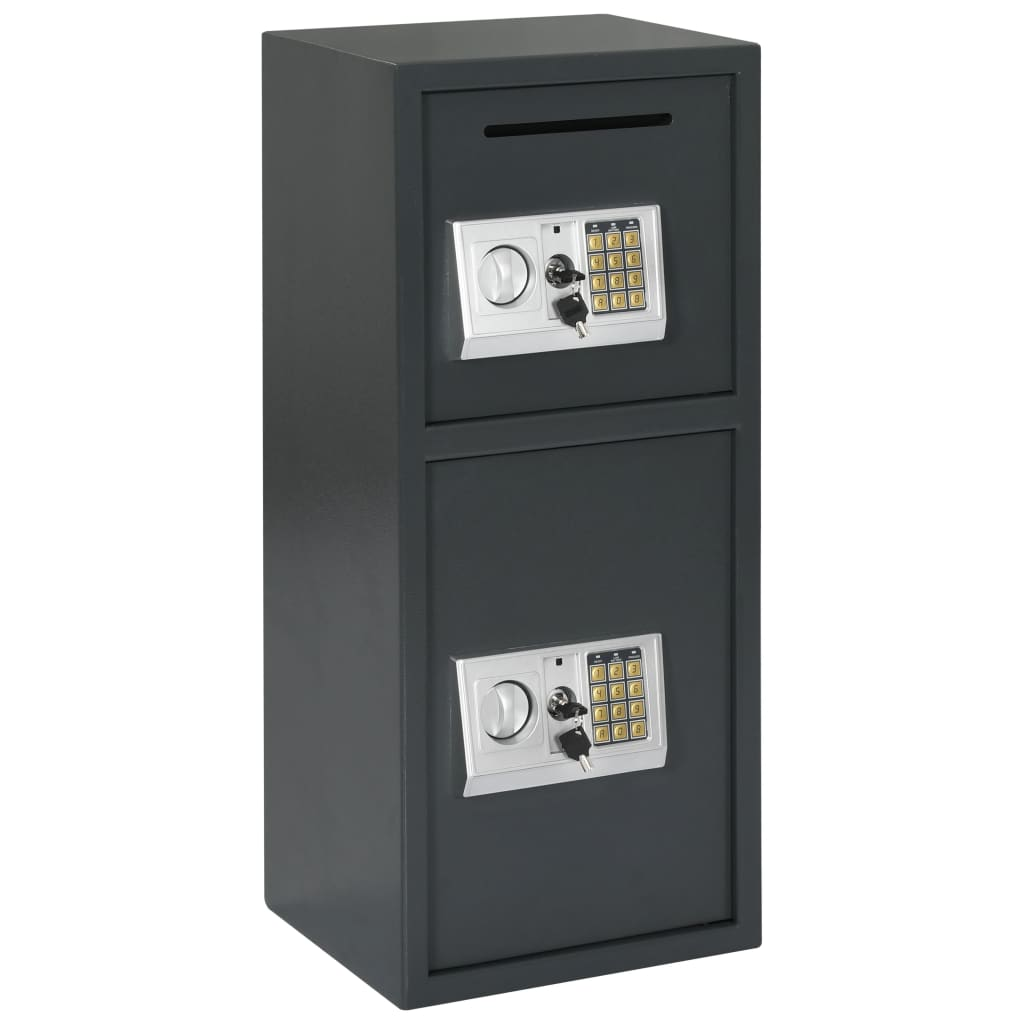 vidaXL Seif digital cu ușă dublă, gri închis, 35 x 31 x 80 cm poza vidaxl.ro