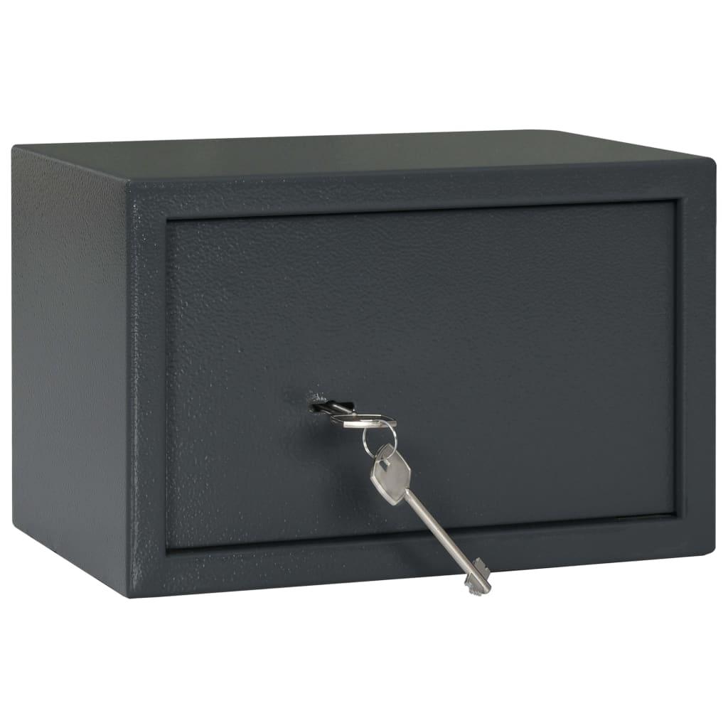 vidaXL Seif mecanic, gri închis, 31 x 20 x 20 cm, oțel poza vidaxl.ro