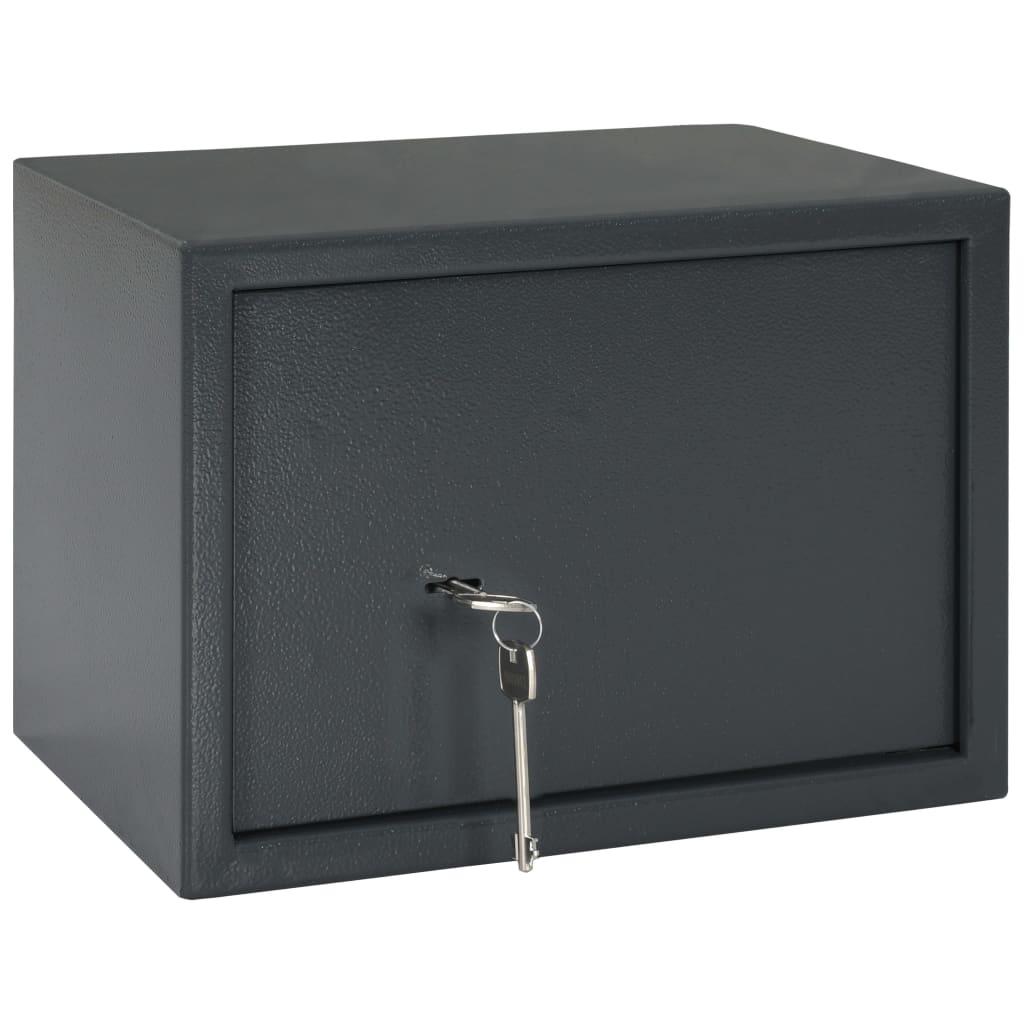 vidaXL Seif mecanic, gri închis, 35 x 25 x 25 cm, oțel poza vidaxl.ro