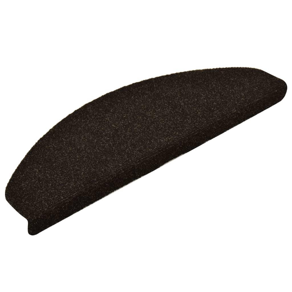 vidaXL Trapmatten zelfklevend 15 st 65x21x4 cm naaldvilt donkerbruin