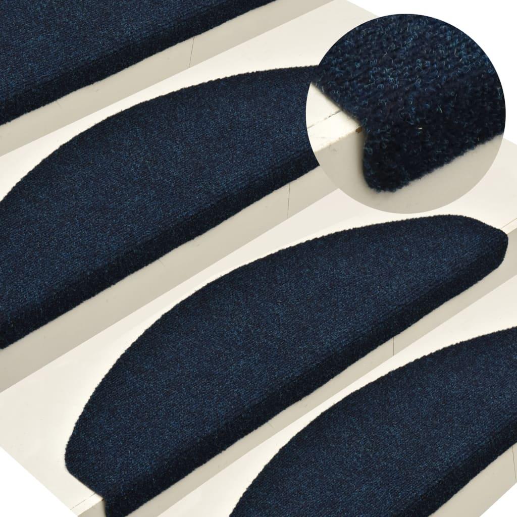 vidaXL Covorașe scări autoadezive 15 buc bleumarin 56x17x3 cm punch imagine vidaxl.ro