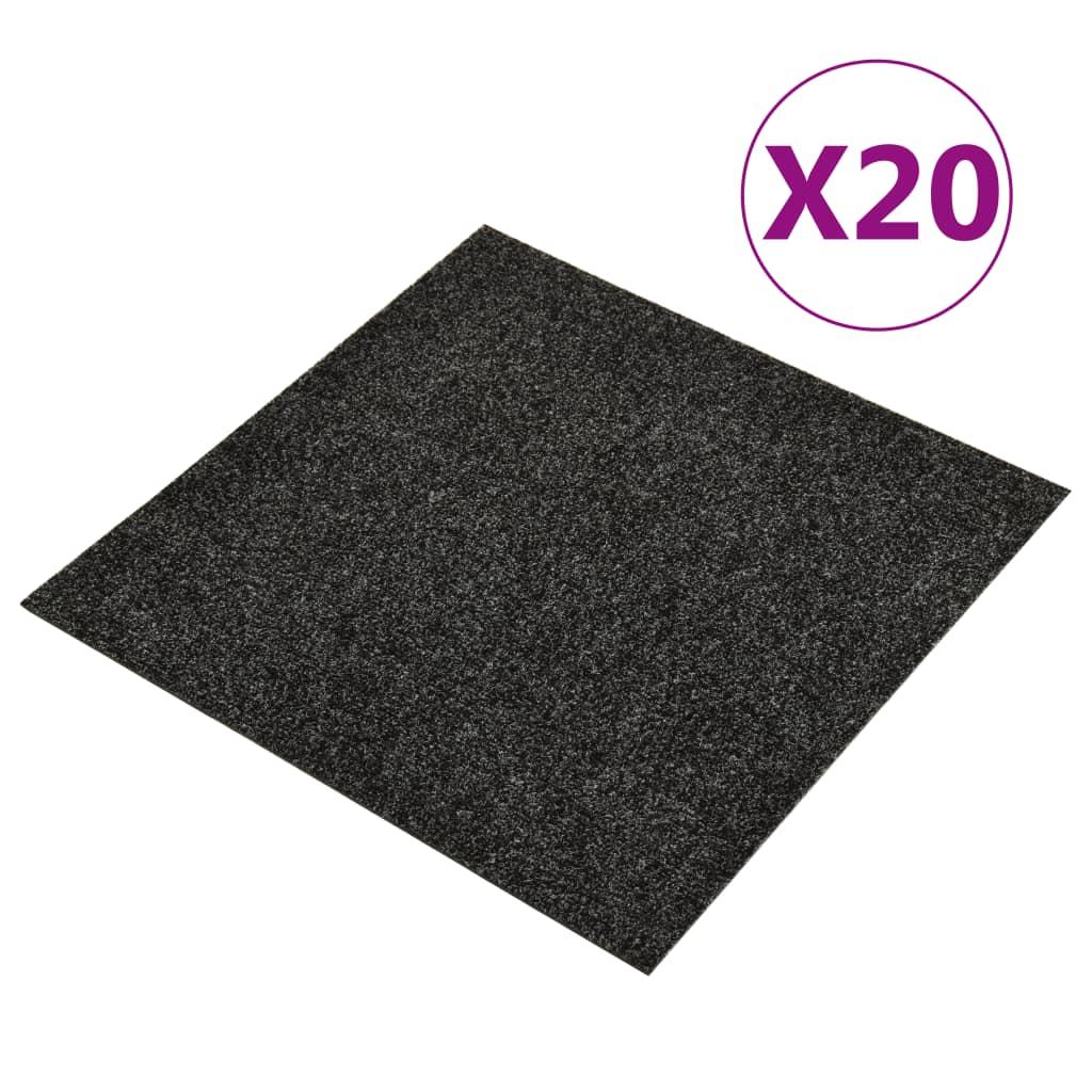 vidaXL Dale mochetă pentru podea, 20 buc., negru, 5 m² poza vidaxl.ro