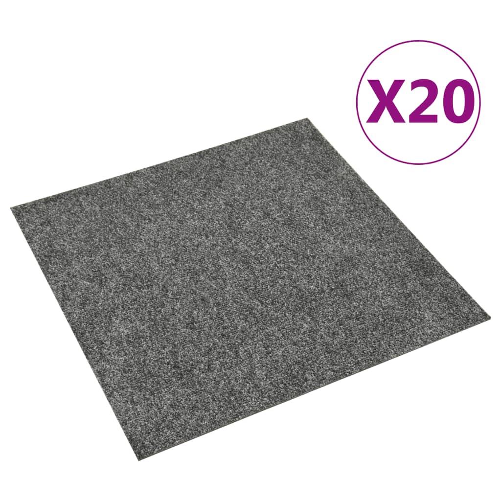 vidaXL Dale mochetă pentru podea, 20 buc., gri închis, 5 m² poza 2021 vidaXL