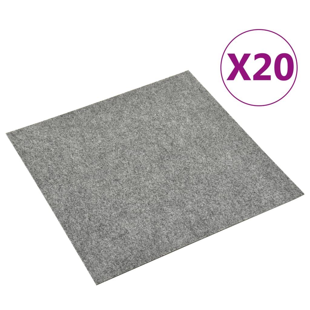 vidaXL Dale mochetă pentru podea, 20 buc., gri deschis, 5 m² vidaxl.ro