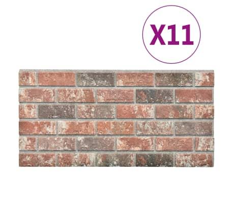 vidaXL 11 st Wandpanelen 3D donkerbruine en grijze baksteen EPS