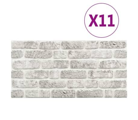 vidaXL 3D-vægpaneler 11 stk. murstensdesign EPS lysegrå