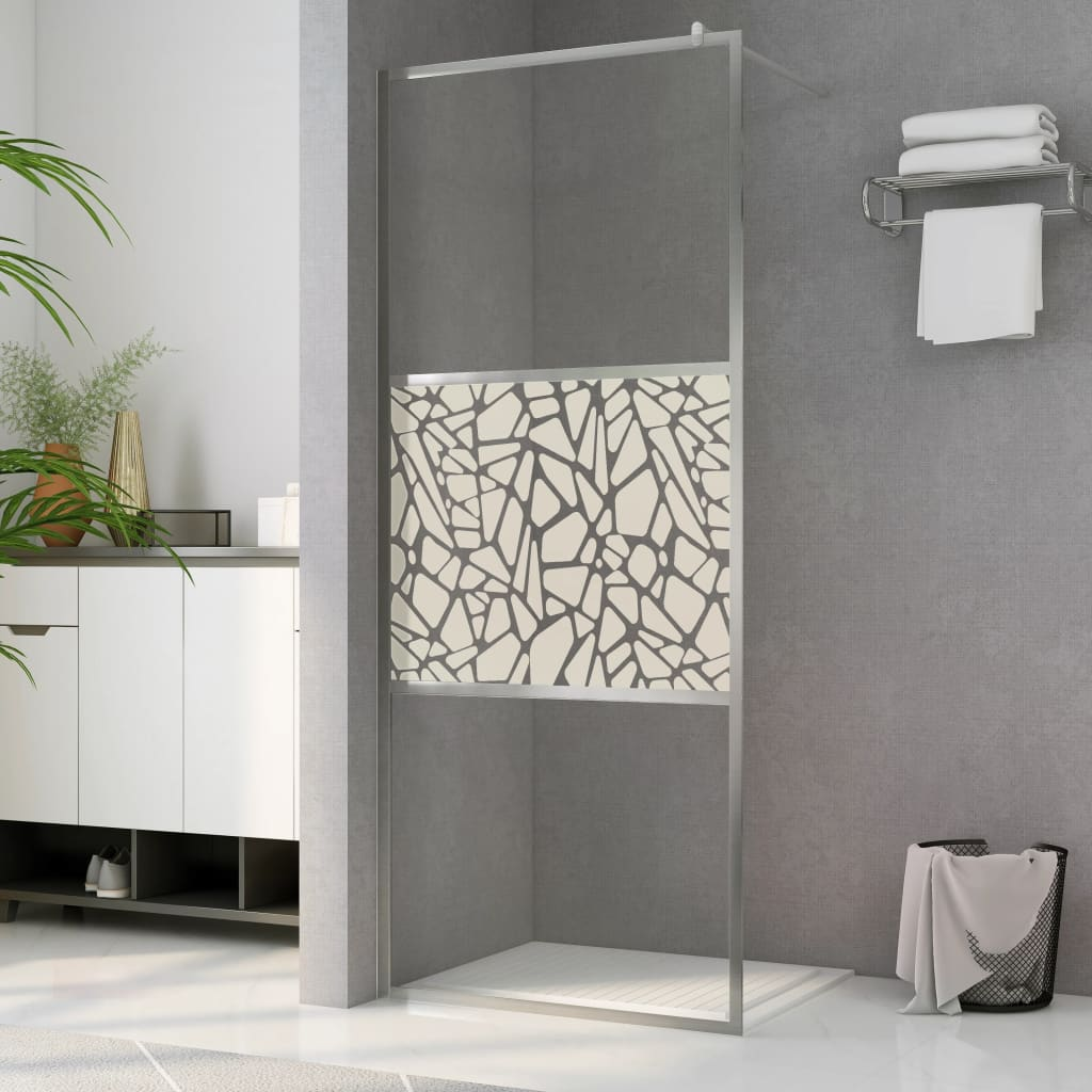 vidaXL Paravan de duș walk-in, 90 x 195 cm, sticlă ESG, model piatră imagine vidaxl.ro