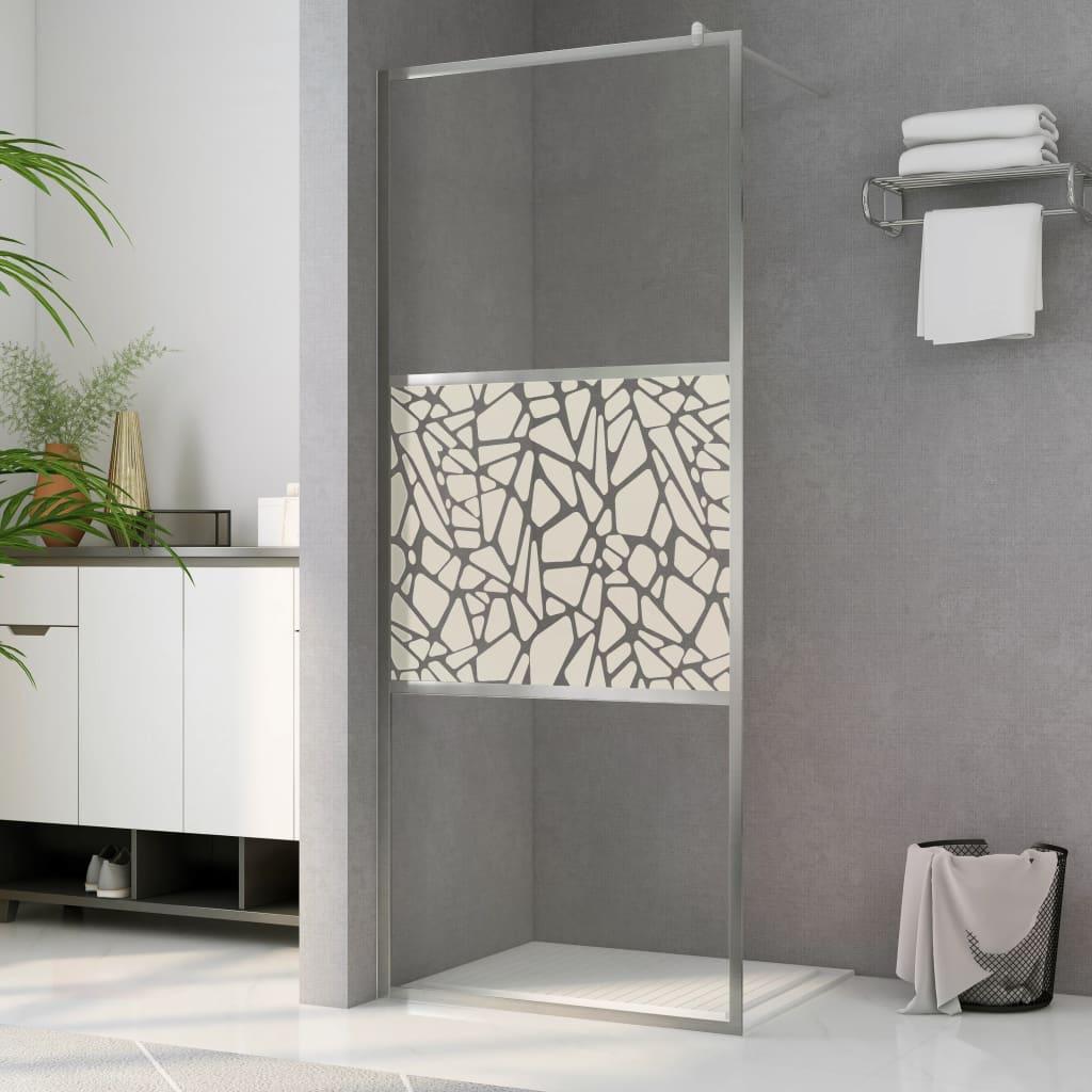 vidaXL Paravan de duș walk-in, 115 x 195 cm, sticlă ESG, model piatră imagine vidaxl.ro