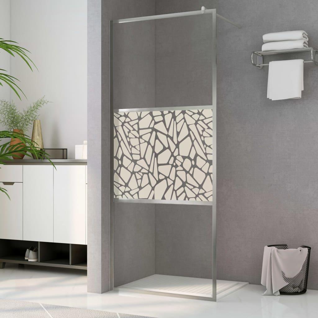 vidaXL Paravan de duș walk-in, 140 x 195 cm, sticlă ESG, model piatră imagine vidaxl.ro