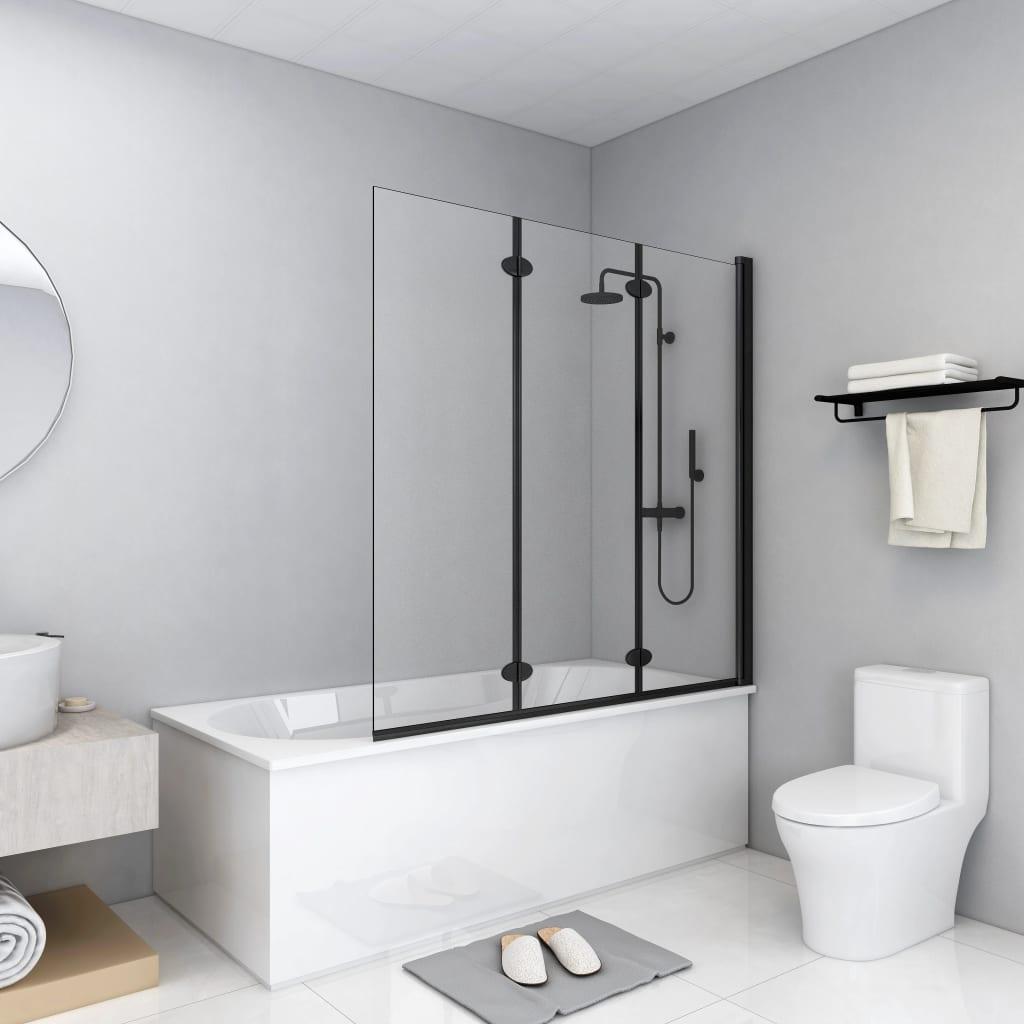 vidaXL Cabină de duș pliabilă, 3 panouri, negru, 130 x 138 cm, ESG imagine vidaxl.ro