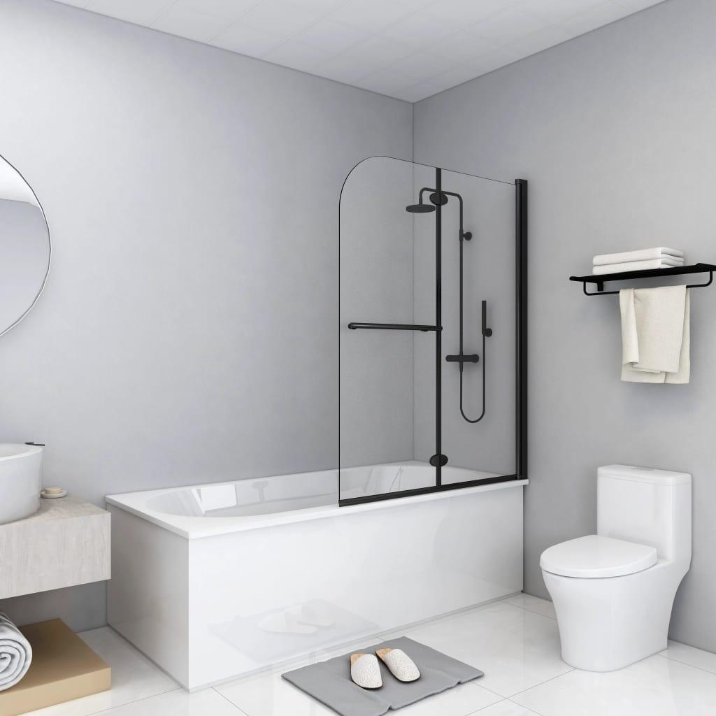 vidaXL Cabină de duș pliabilă, 2 panouri, negru, 95 x 140 cm, ESG imagine vidaxl.ro