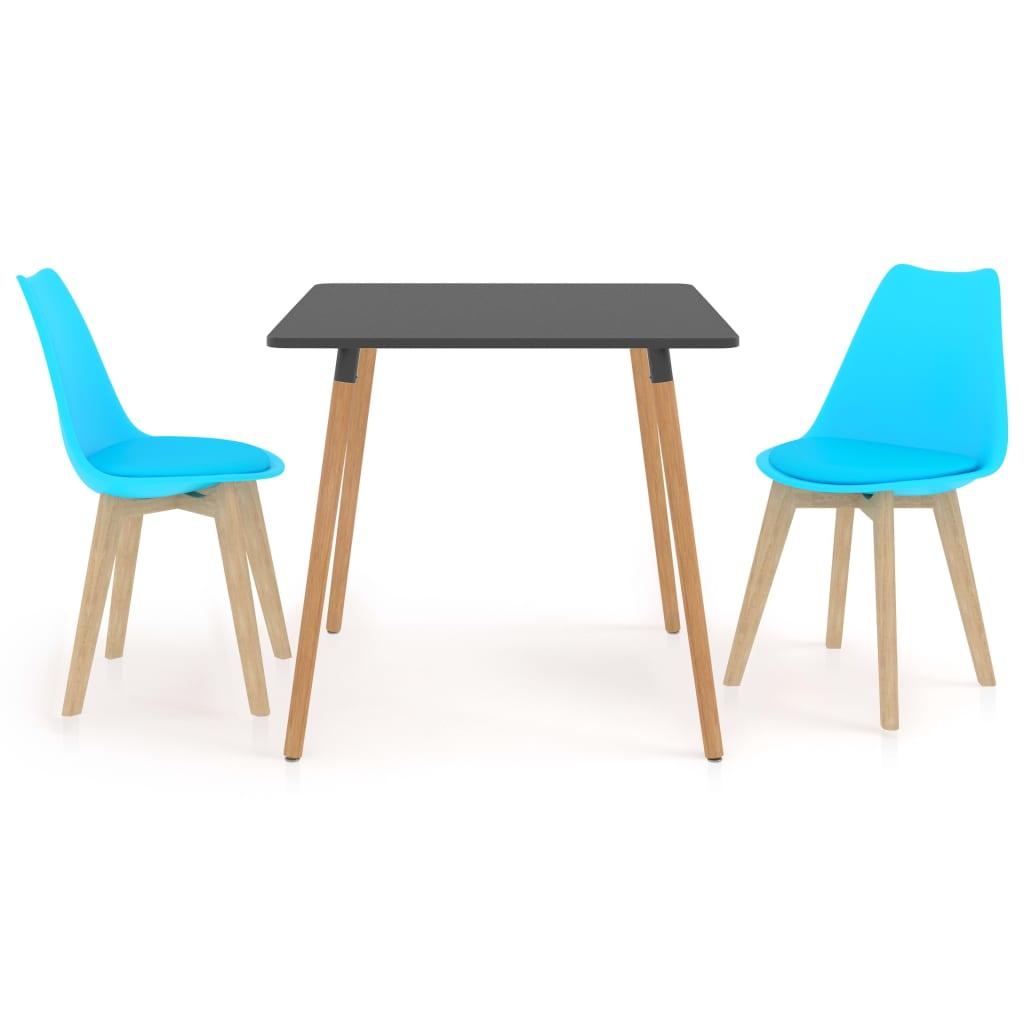 3dílný jídelní set modrý