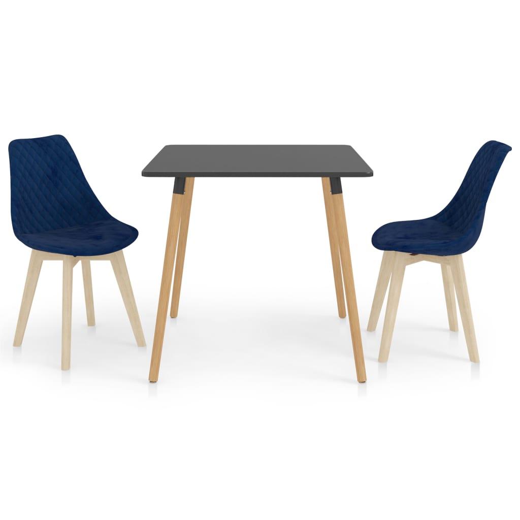 vidaXL spisebordssæt 3 dele blå