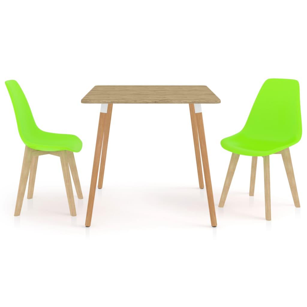 3dílný jídelní set zelený