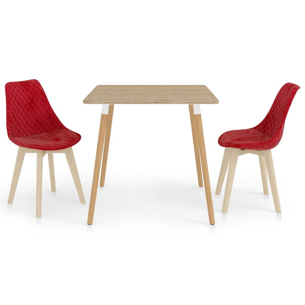 vidaXL spisebordssæt 3 dele rød